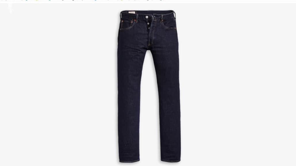 Levi's 501 dark rinse jeans website sample image