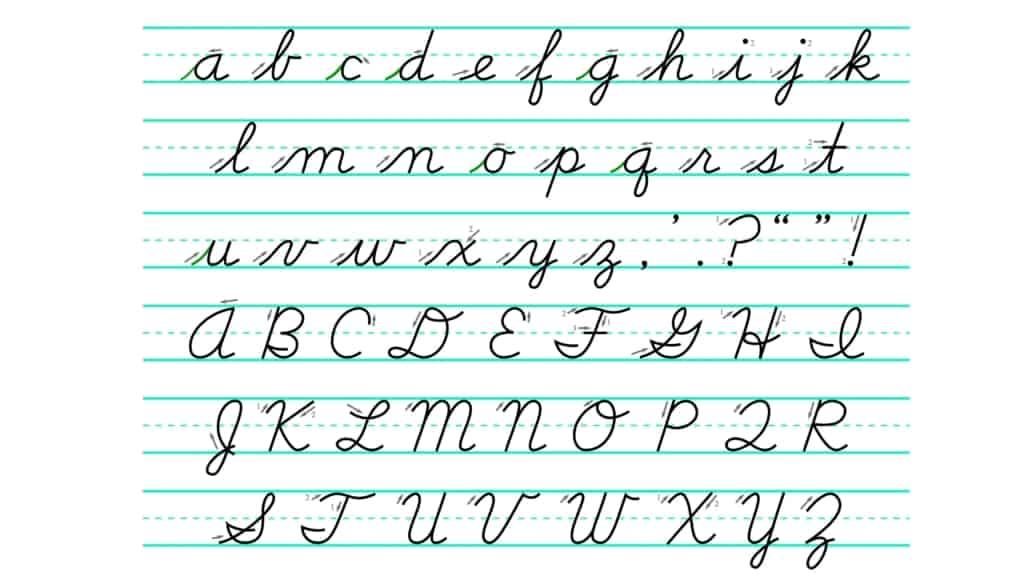 D'Nealian method of writing A-Z