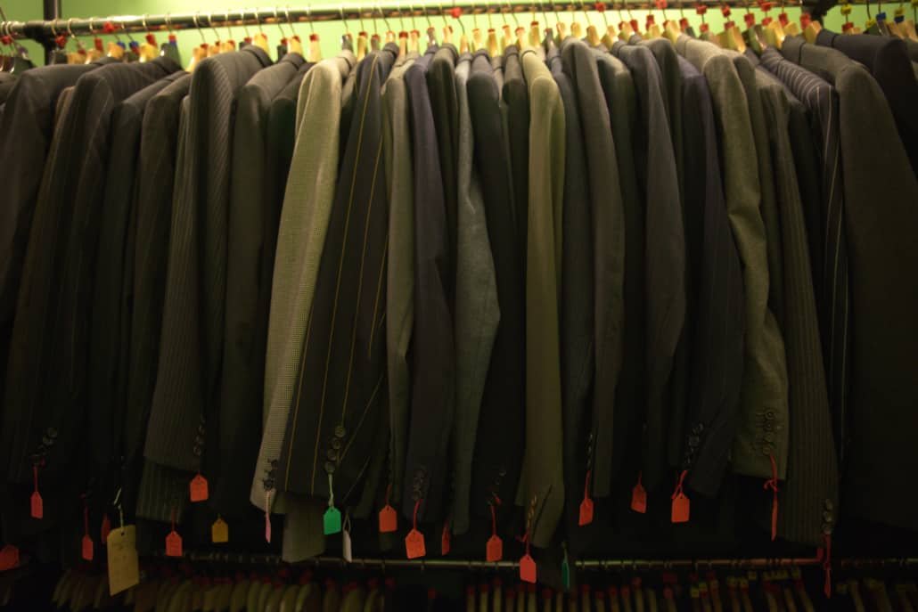 Vintage suits on display from a local thrift store