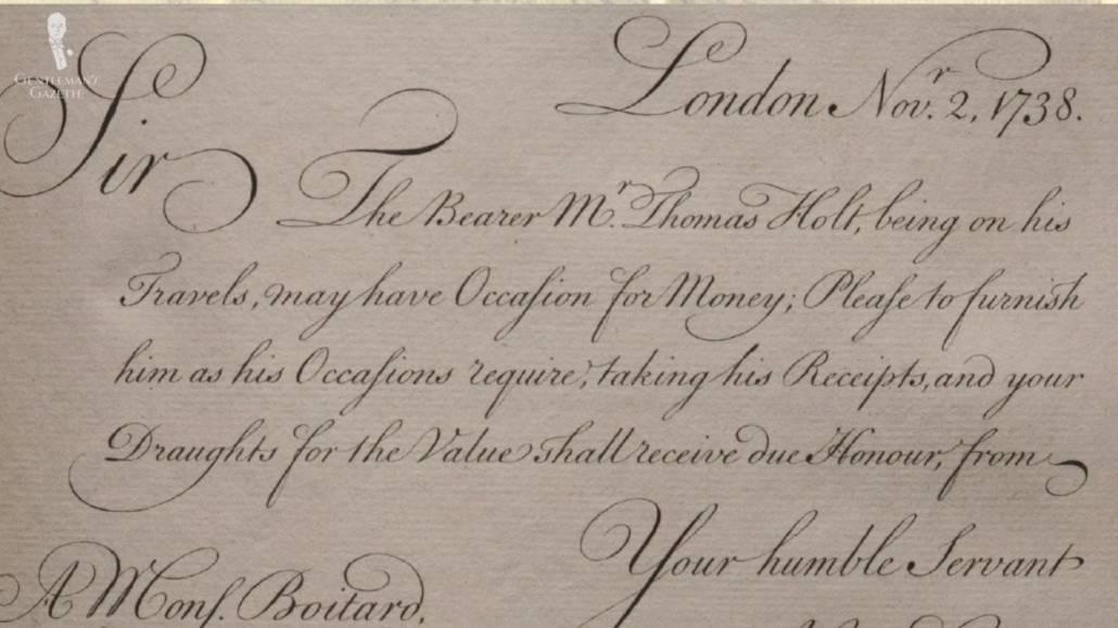 An old letter written using Carstair's method of writing