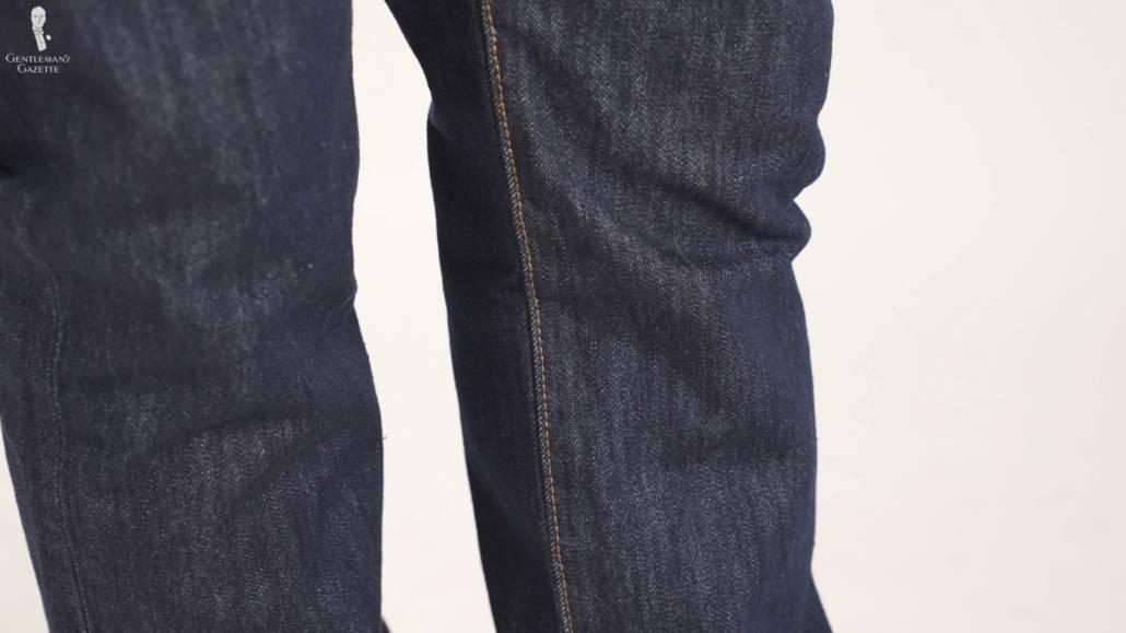 Leg part of Levi's 501 denim cotton jeans