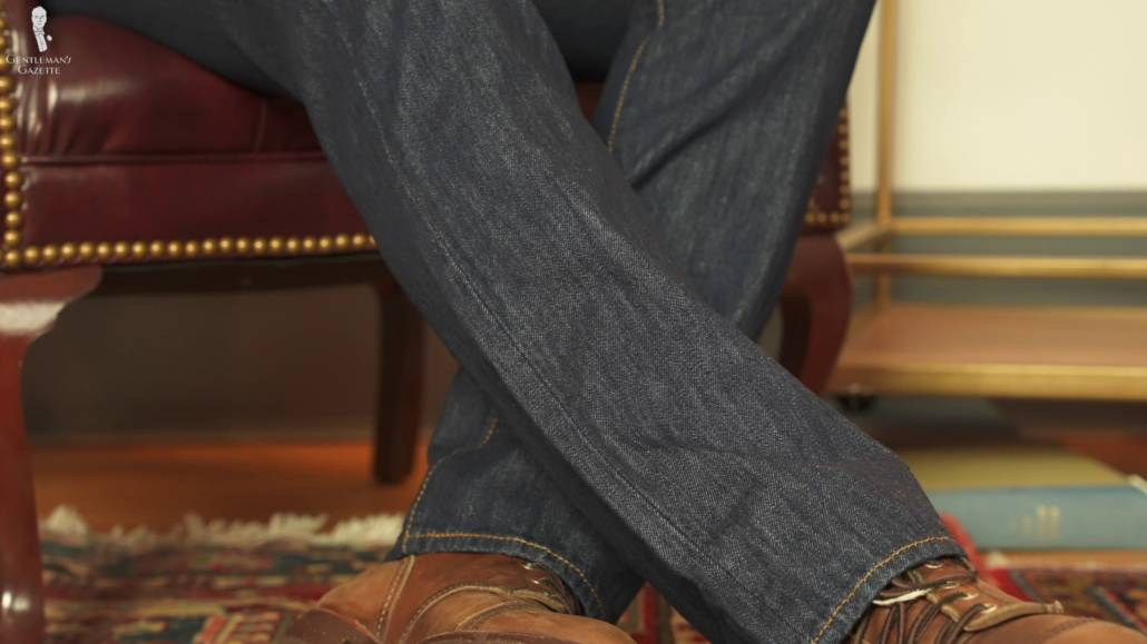 An image focused on the straight fit legs of 501 jeans