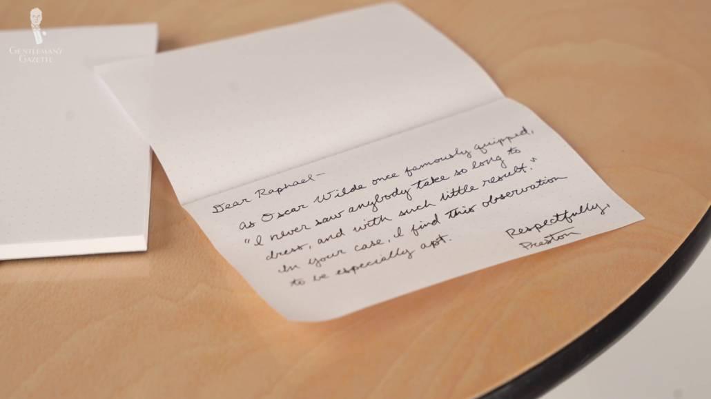Preston's handwritten letter to Raphael