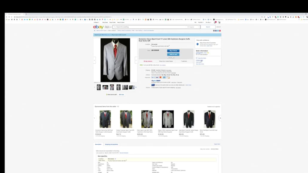 An eBay listing for a second hand suit.