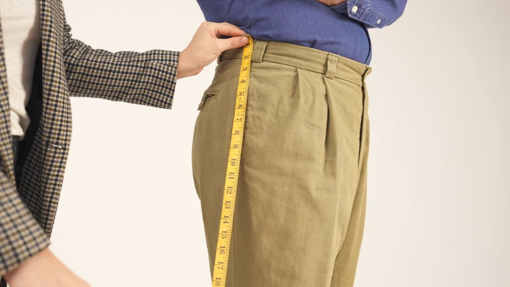 Raphael's outseam measurement – starting from the top waistline