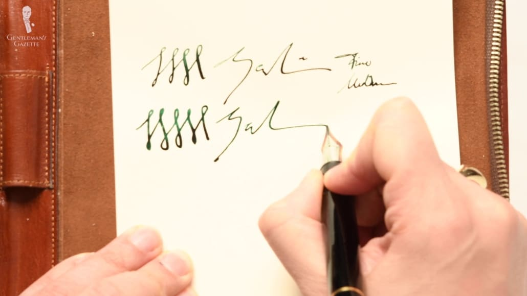 Practicing a signature using a fountain pen