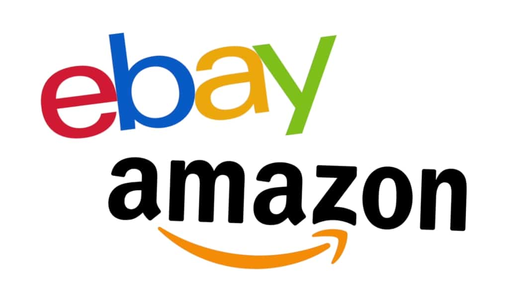 Logos of eBay and Amazon