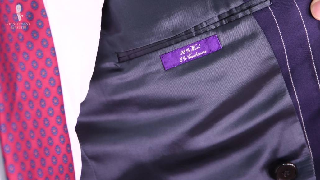 A suit jacket's tag showing the fabrics