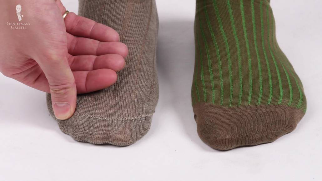 A comparison of $4 socks and $40 Fort Belvedere Socks