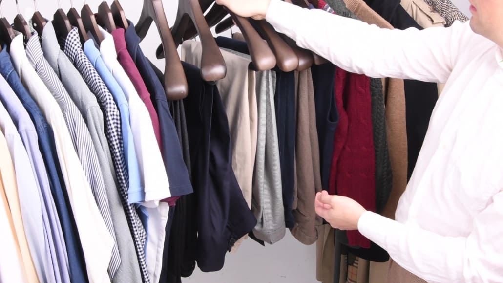 Raphael's capsule wardrobe with several pieces of clothing
