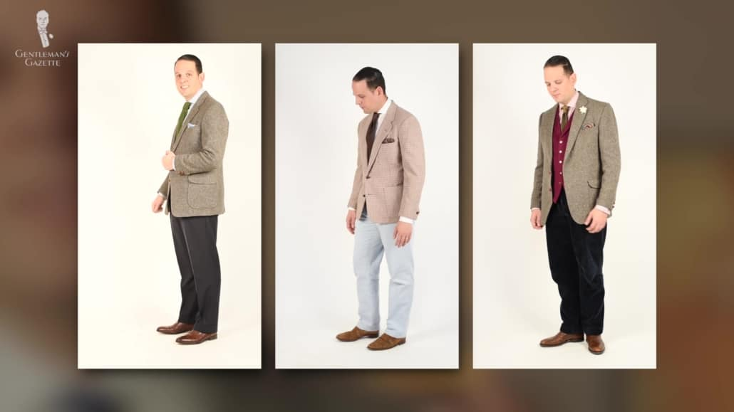 Raphael wearing three different outfit combinations.