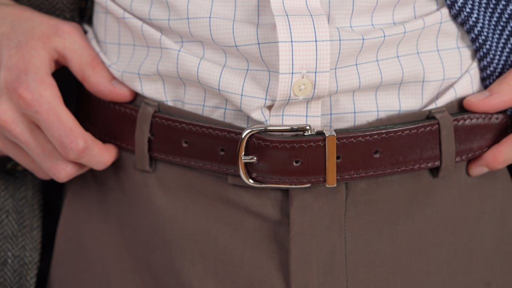 Preston wearing the Bordeaux Burgundy Red Calf Leather Belt from Fort Belvedere